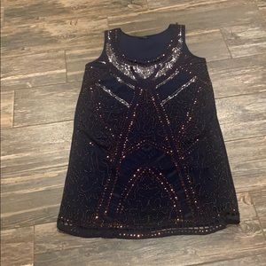 Navy sequined sheath dress. Fully lined. S